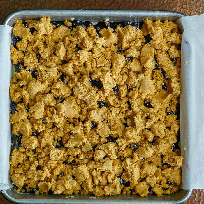Blueberry Crumble Bars ready for the oven