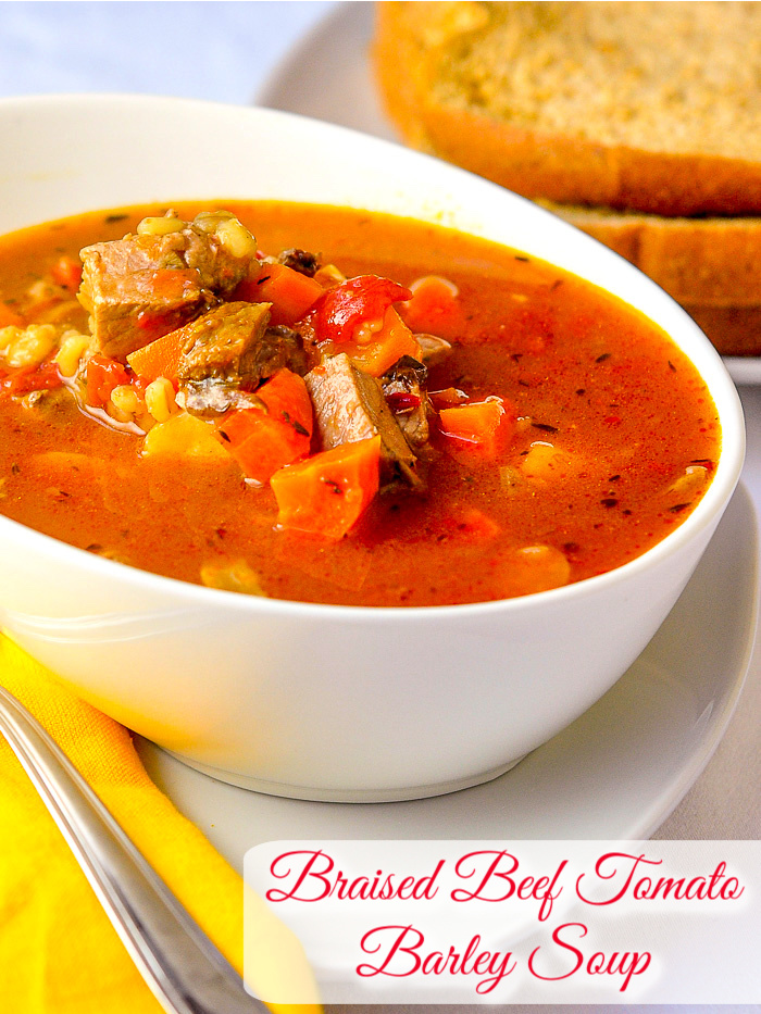 Braised Beef Tomato Barley Soup photo with title text added for Pinterest