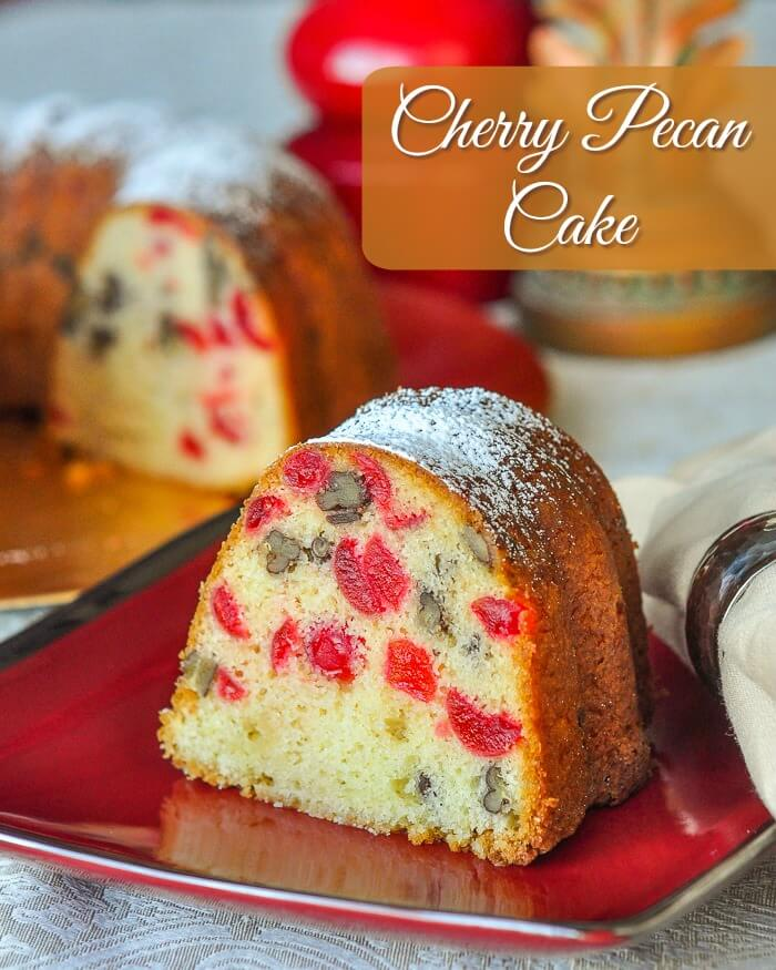 Cherry Pecan Cake image with title text