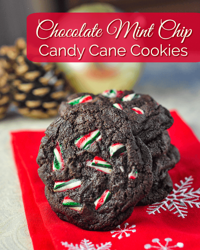 Chocolate Mint Chip Candy Cane Cookies, image with title text