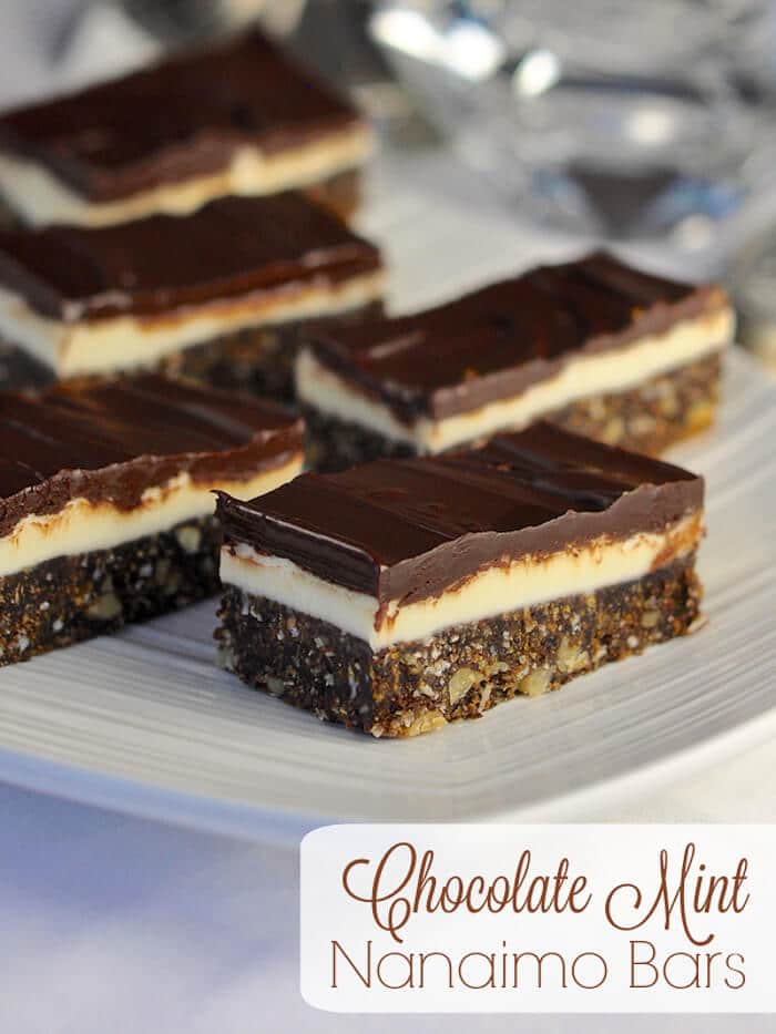 Chocolate Mint Nanaimo Bars with title text