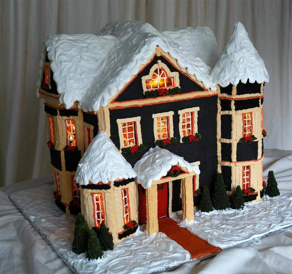 Detailed Instructions for Making a Lighted Gingerbread House on