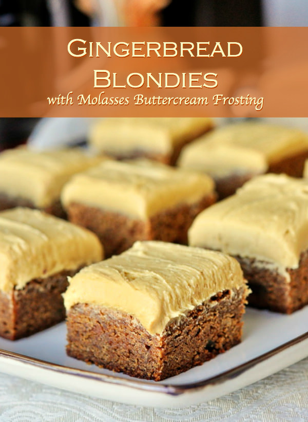 Gingerbread Blondies with Molasses Buttercream Frosting - Rock Recipes ...