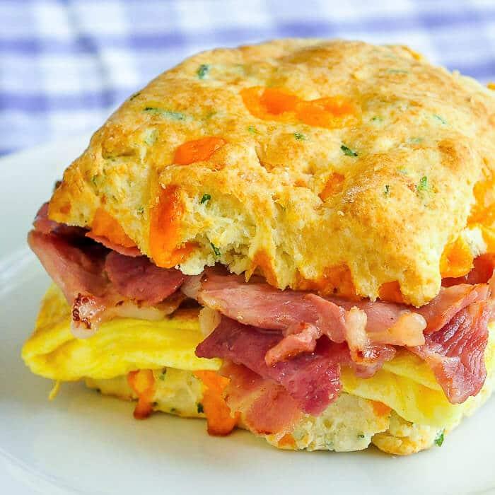 Ham Cheddar Biscuit Breakfast Sandwiches