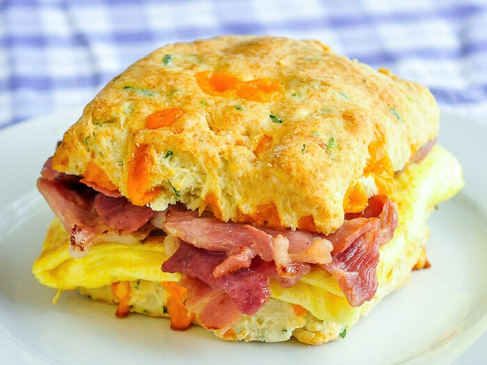 Ham Cheddar Biscuit Breakfast Sandwiches