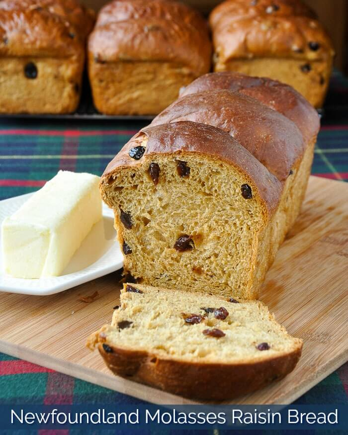 Newfoundland Molasses Raisin Bread with Title Text
