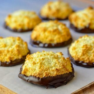 Orange Chocolate Macaroons on parchment paper