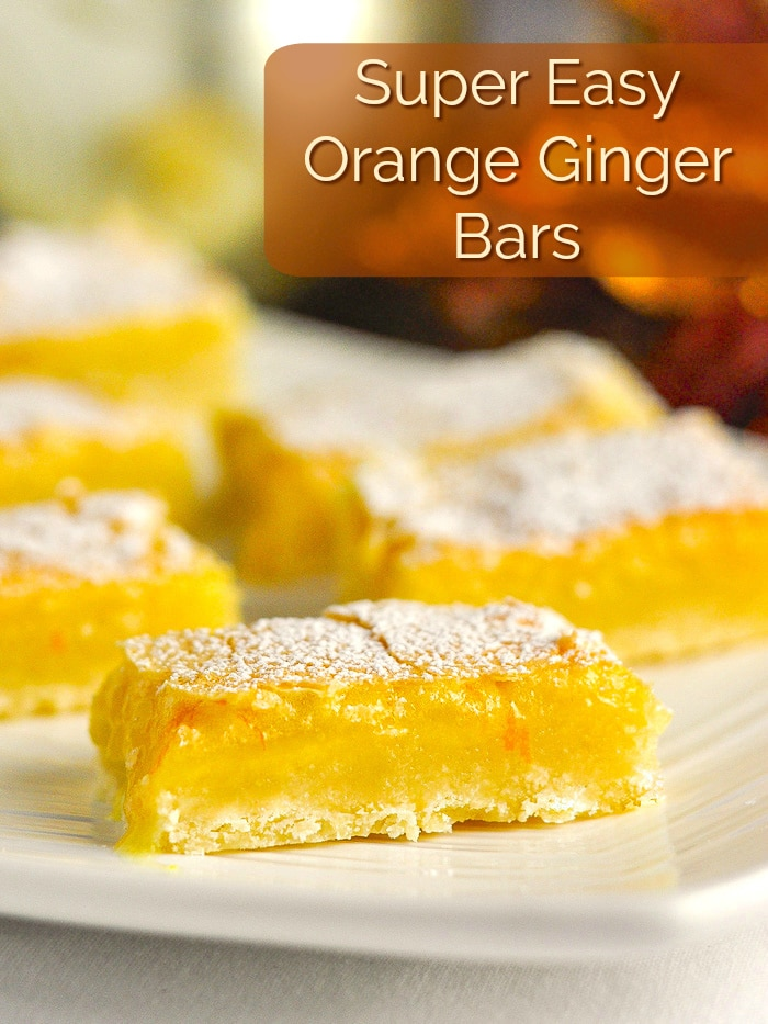Orange Ginger Bars image with title text for Pinterest