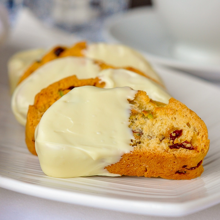 Pistachio Cranberry White Chocolate Biscotti featured image square