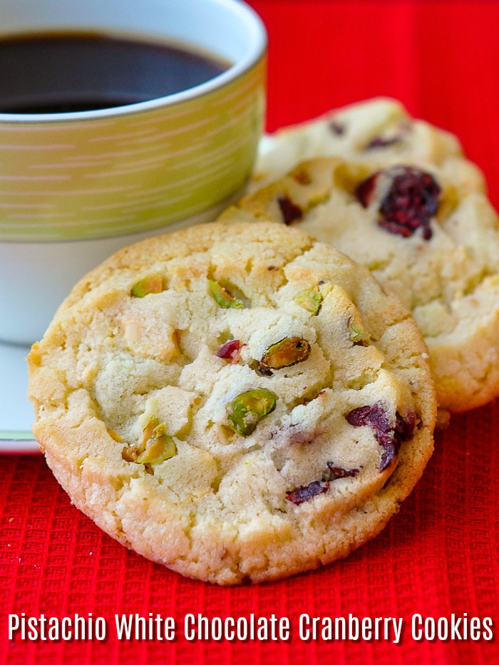 Pistachio White Chocolate Cranberry Cookies image with title text for Pinterest