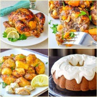 A Sunday Dinner Menu square collage of 4 recipe photos
