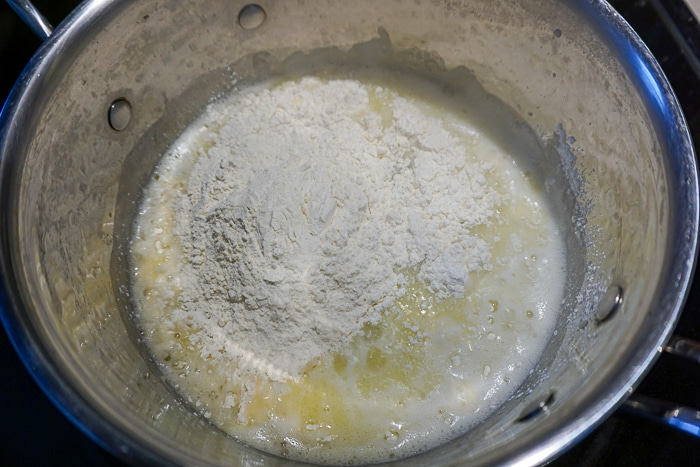 Add in the flour