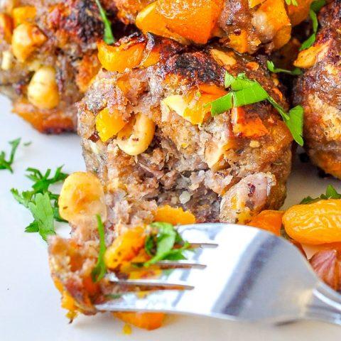 Apricot Hazelnut Sausage Stuffing Balls