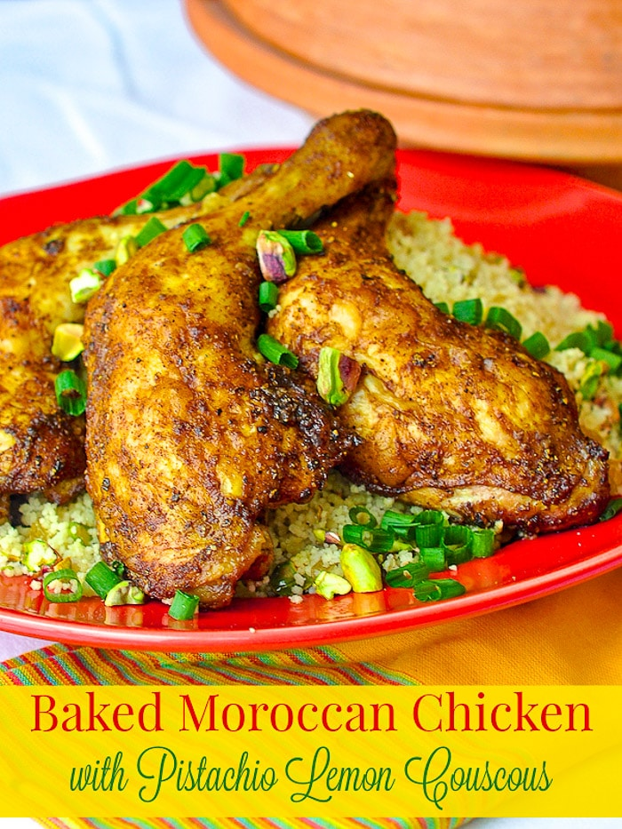 Baked Moroccan Chicken with Pistachio Lemon Couscous photo with title text for Pinterest