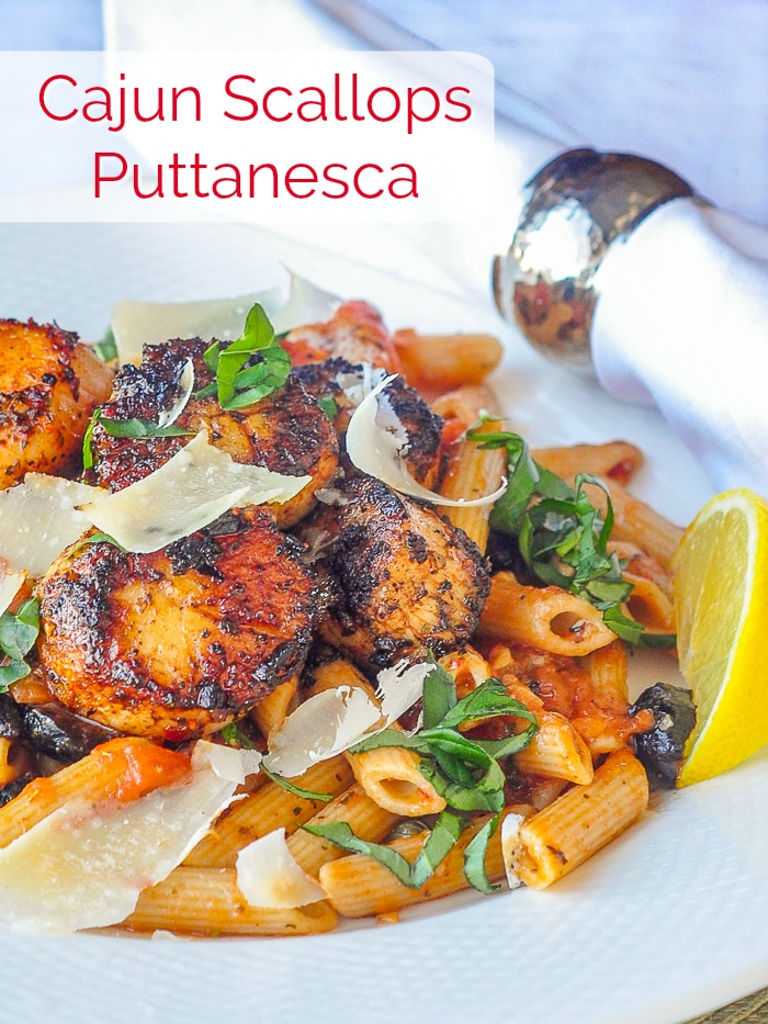 Cajun Scallops Puttanesca photo with title text for Pinterest
