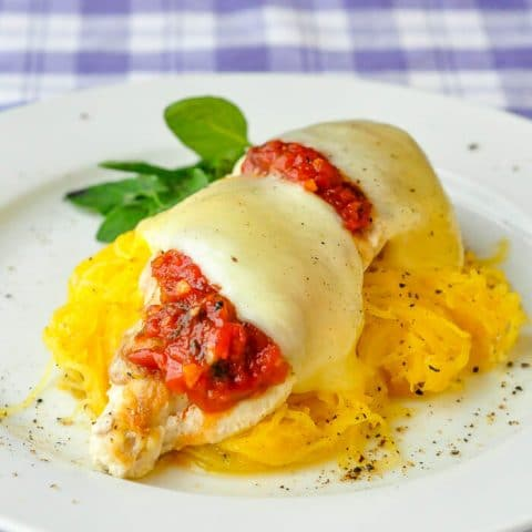 Chicken Mozzarella with Roasted Spaghetti Squash . Low fat, low carb and gluten free!