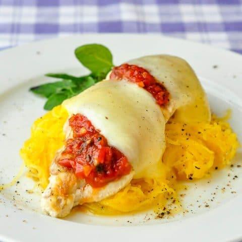 Chicken Mozzarella with Roasted Spaghetti Squash