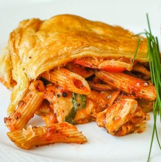 Chicken Penne Timpano close up photo of a single serving on a white plate