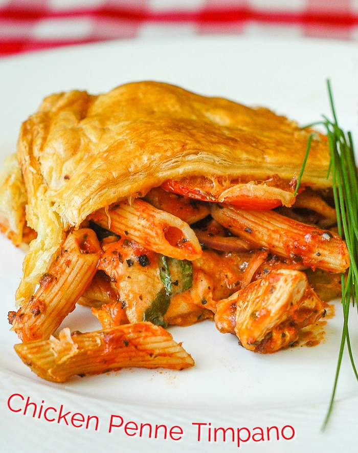 Chicken Penne Timpano photo with title text added for Pinterest