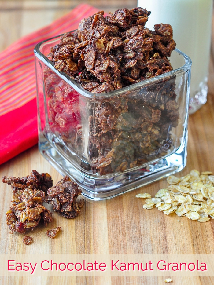 Chocolate Kamut Granola with title text added for Pinterest