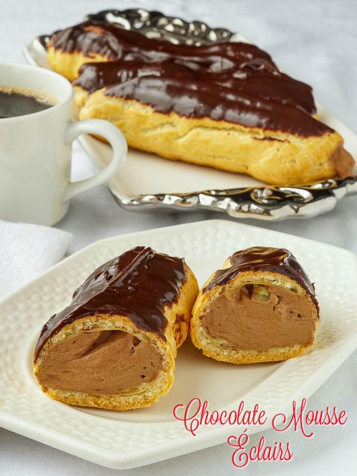 Chocolate Mousse Eclairs photo with title text added for Pinterest