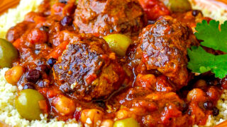 Close up photo of one serving of Moroccan Meatball Stew
