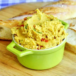 Curry Spiced Roasted Red Pepper Hummus