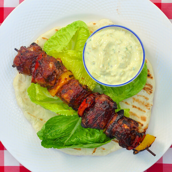 Indian Spice Grilled Turkey with Yellow Curry Cucumber Raita