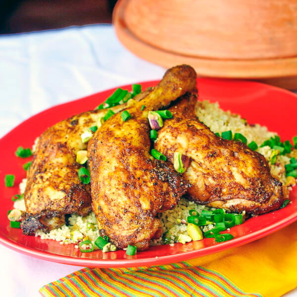 ... and Easy Moroccan Spiced Baked Chicken with Pistachio Lemon Couscous