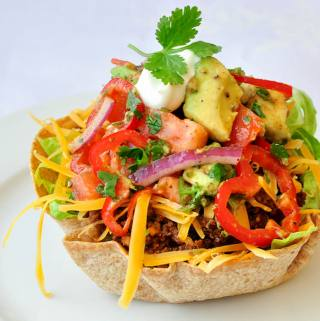 Low Fat Taco Salad with Chunky Avocado Tomato Salsa