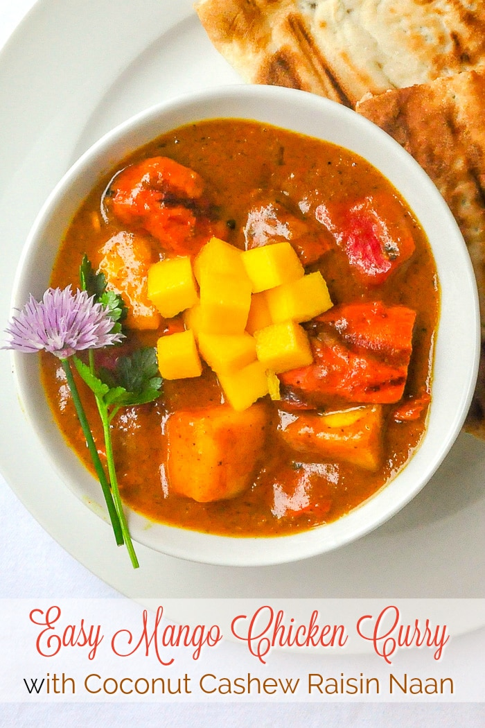 Easy Mango Chicken Curry p=hoto with title text for Pinterest
