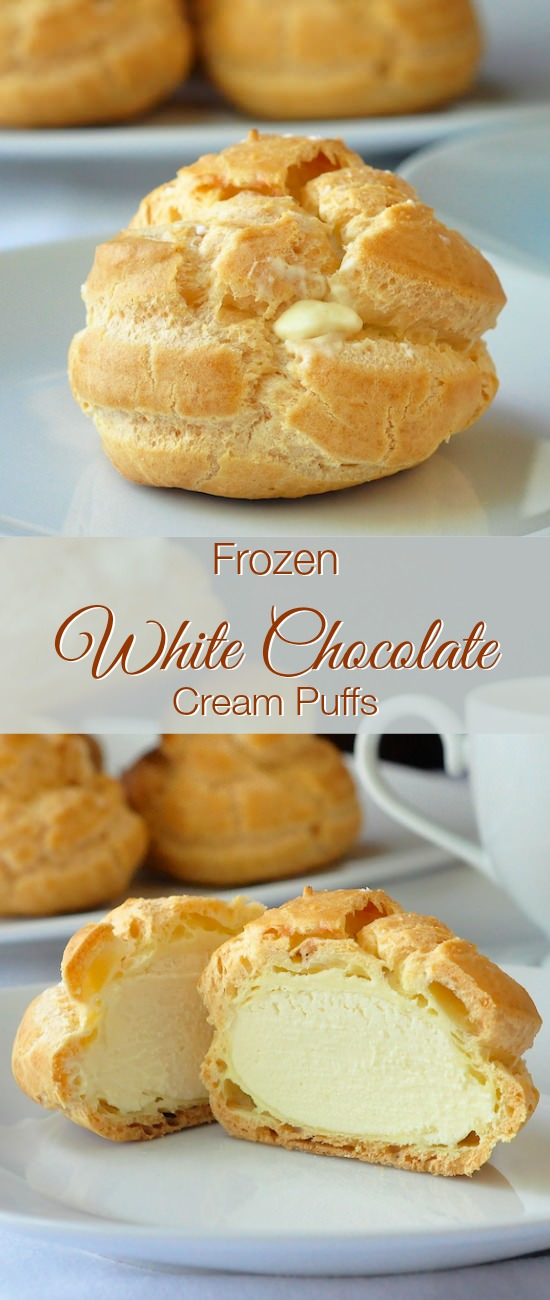Frozen White Chocolate Cream Puffs