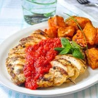 Lemon Herb Grilled Chicken with Spicy Roasted Red Pepper Sauce