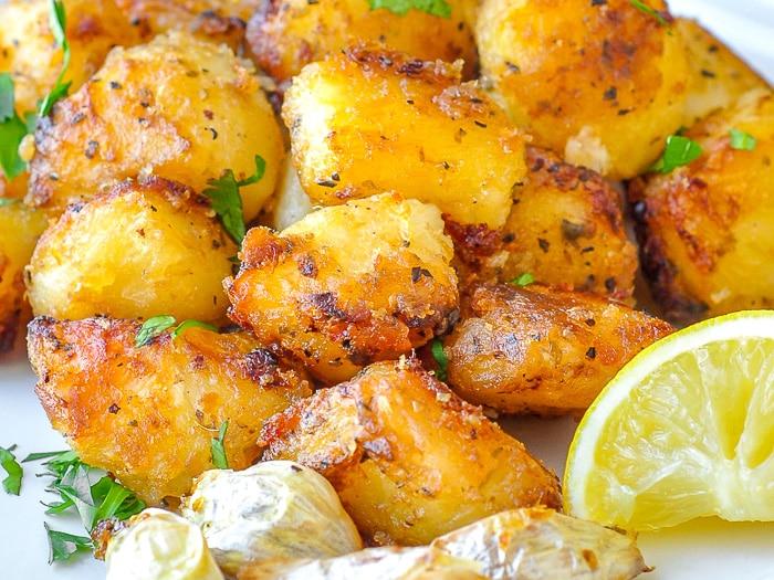 Lemon Herb Roasted Potatoes close up photo of very crispy potatoes