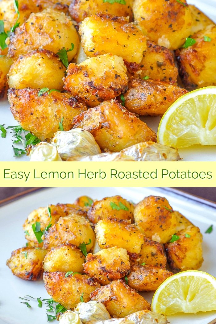 Lemon Herb Roasted Potatoes photo collage with title text for Pinterest
