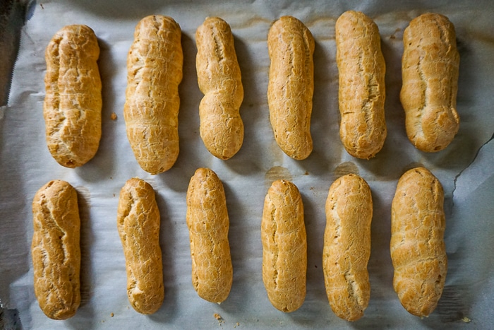 Let the choux pastries cool down