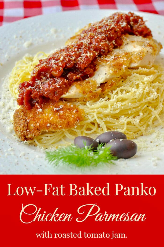 Low Fat Baked Panko Chicken Parmesanphoto including title text for Pinterest