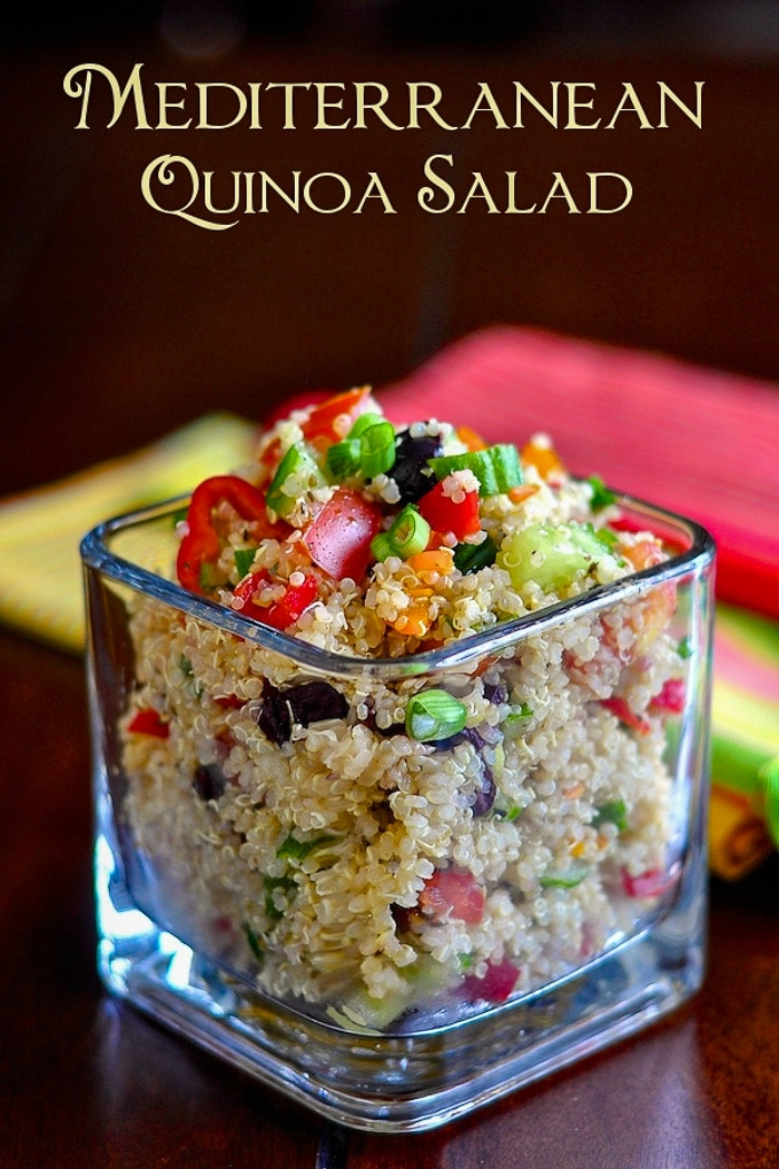 Mediterranean Quinoa Salad photo with title text for Pinterest