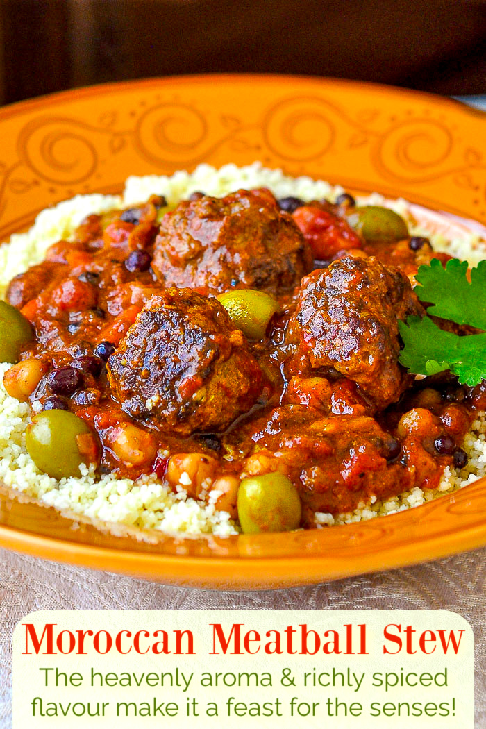 Moroccan Meatball Stew photo with title text added for Pinterest