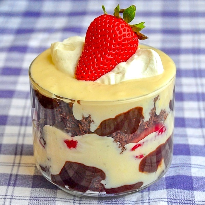 Neapolitan Trifle single serving in a clear glass dish