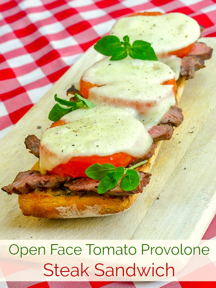Open Face Tomato Provolone Steak Sandwich photo with title text for Pinterest