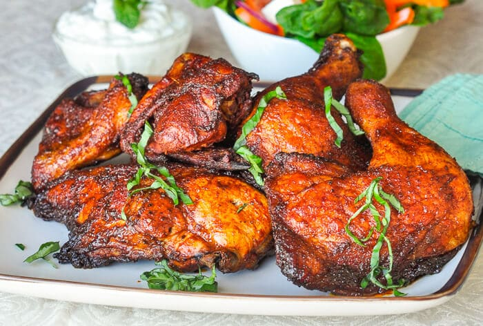 Souvlaki Roast Chicken with Lemon Mint Tzatziki