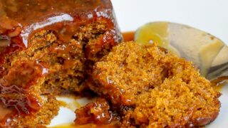 Sticky Toffee pudding close up photo