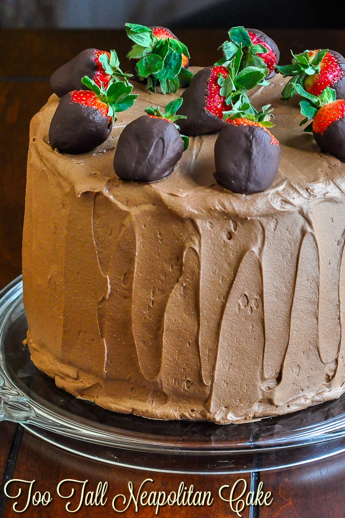 Too Tall Neapolitan Cake photo of uncut cake with title text added for Pinterest