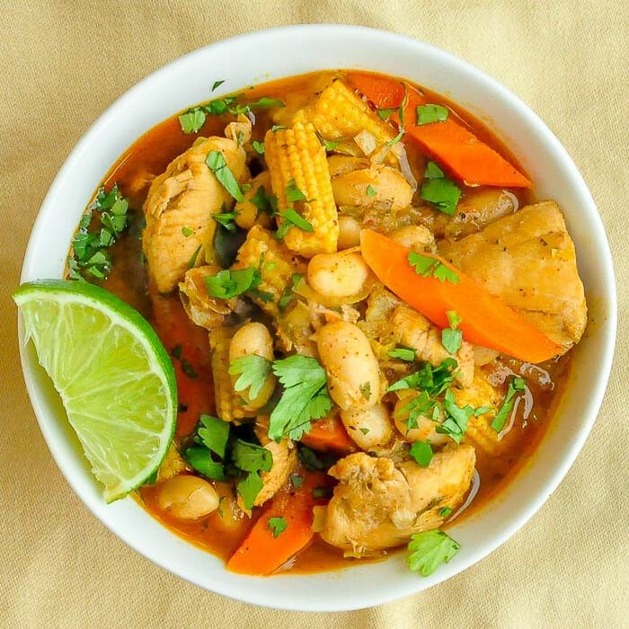 White Bean Chicken Chili featured image . Photo of one filled bowl.