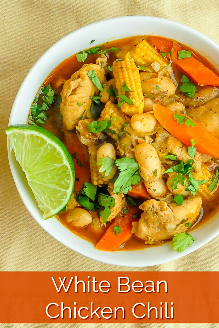White Bean Chicken Chili image with title text for Pinterest