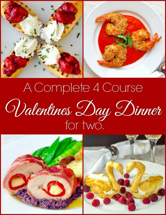 4 course Valentines Day Dinner image with title text for social media