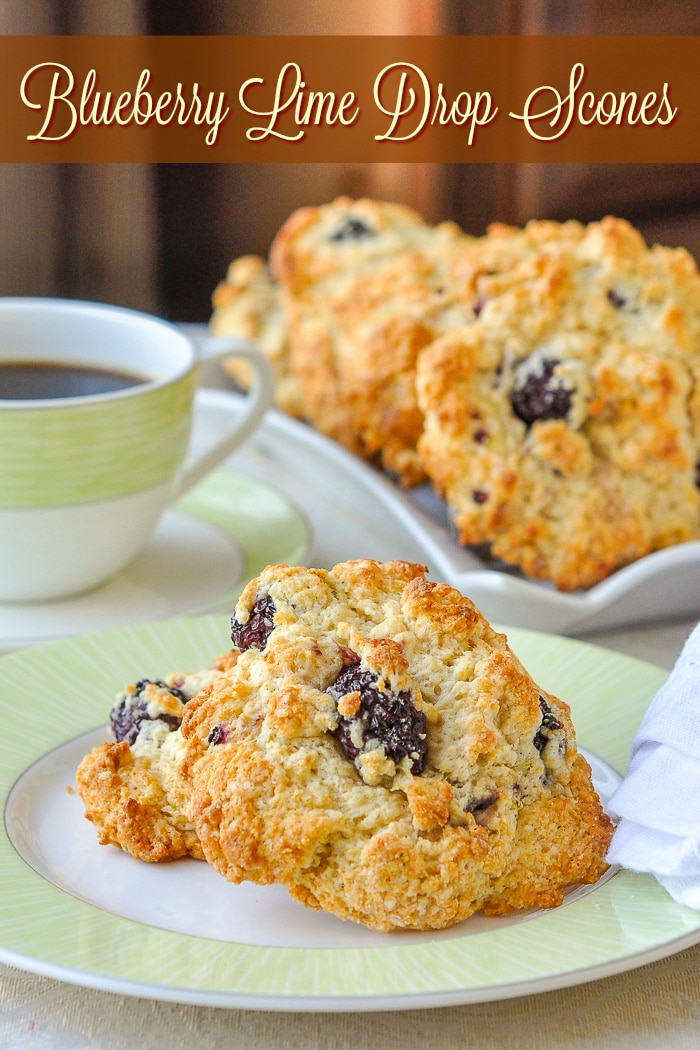 Blackberry Lime Drop Scones with title text for Pinterest