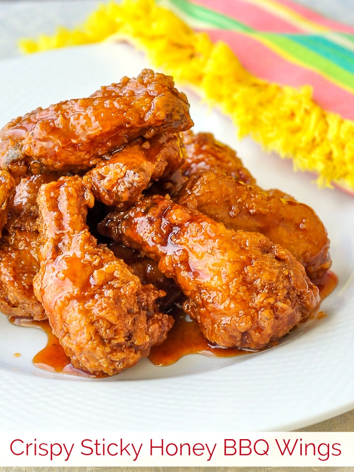 Crunchy Sticky Honey Barbecue Wings photo with title text for Pinterest