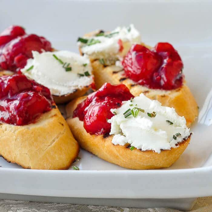 Strawberry Balsamic Chutney and Goat Cheese Bruschetta